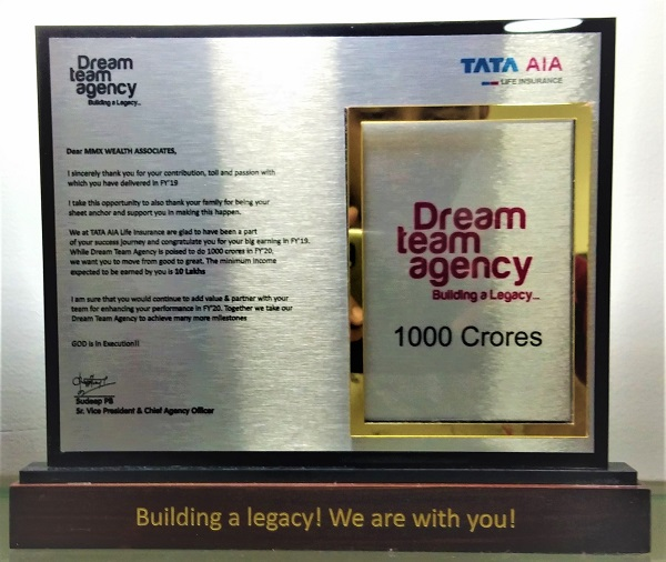 TATA AIA-Achieved VALUABLE CONTRIBUTION AWARD 2019